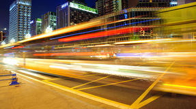 Free High Speed And Blurred Bus Light Trails Royalty Free Stock Photography - 15749297