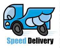 High-speed blue machine with strong wings. Expressway delivery icon - cartoon vector illustration for sighn or logo template Stock Photos