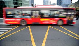 High speed and blurred bus Royalty Free Stock Image