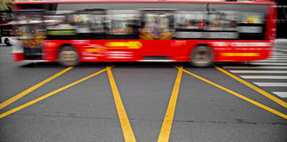 High speed and blurred bus Stock Images