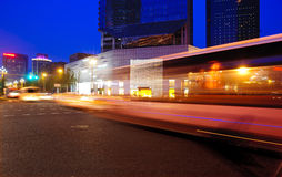 High speed and blurred bus light trails Stock Photography