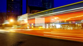 High speed and blurred bus light trails Royalty Free Stock Photo