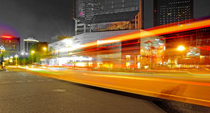 High speed and blurred bus light trails Stock Images