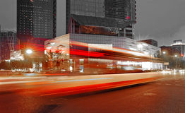 High speed and blurred bus light trails Stock Photo