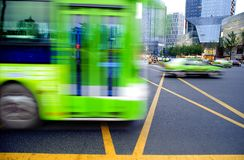 High speed and blurred bus trails Royalty Free Stock Photography