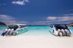 High-speed boat on the beach Stock Photos