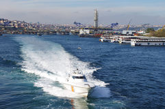 High-speed boat in Istanbul water Stock Image