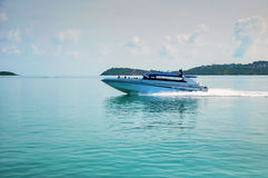 High-speed boat on the sea. Royalty Free Stock Photos