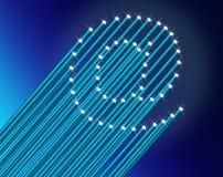 High speed broadband concept. Illustration depicting many illuminated blue fiber optic light strands arranged to form the ampersat symbol. Blue gradient Stock Photos