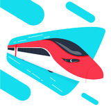 High speed bullet train come out from the circle, modern flat design, vector illustration. Speedrails train abstract concept Stock Image