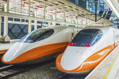 High speed bullet train by the railway station in Taiwan Stock Images