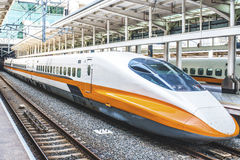 High speed bullet train by the railway station in Taiwan Stock Image