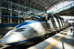 High-speed bullet trains KTX and Korail trains stop at the Seoul station in South Korea. Stock Photos