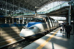 High-speed bullet trains KTX and Korail trains stop at the Seoul station in South Korea. Royalty Free Stock Image