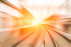 High speed business and technology concept, Acceleration super fast speedy. Motion blur of train station for background design royalty free stock photo