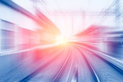High speed business and technology concept, Acceleration super fast speedy motion. Blur of train station for background design stock images