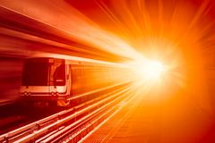 High speed business train transport and technology concept, Acceleration. Super fast speedy motion zoom blur of skytrain station for background design royalty free stock images
