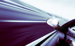 High-speed car. Concept in blue toned Stock Image