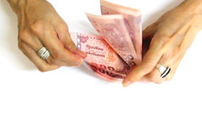 High speed counting Thai Baht banknote stock video footage