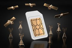 High speed data transfer concept. Sim card surrounded with network towers and satellites. Isolated on dark background. 3D stock illustration