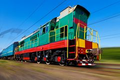 High speed diesel train. With motion blur effect Royalty Free Stock Photo