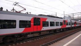 High-speed electric train Lastochka in Saint-Petersburg. stock video
