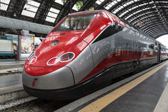 High-speed Eurostar train at the railway station in Milan Royalty Free Stock Photography