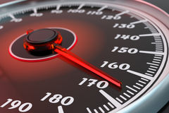 High speed, extreme speeding and drive concept. Car dashboard with speedometer dial closeup view Royalty Free Stock Photography
