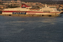 High speed ferry in the harbour of Civitavecchia, Italy. Royalty Free Stock Image