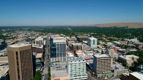 High speed flight over a main street in Boise Idaho stock footage