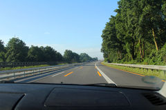 The high-speed highway. View from the car on the high-speed highway Stock Images