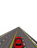 High-speed highway. Red cars on the road . In perspective. Isolated on white background. illustration. High-speed highway. Red cars on the road. In perspective Royalty Free Stock Photography