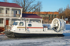 High-speed hovercraft RChS 45-06 of the Ministry of emergencies closeup, sunny January day. Saint Petersburg Stock Images