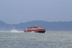 High-speed hydrofoil ferry boat in the harbor of Hong Kong Royalty Free Stock Image