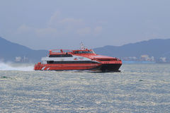 High-speed hydrofoil ferry boat in the harbor of Hong Kong Stock Photo
