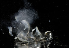 High speed image of shattered light bul Royalty Free Stock Photography
