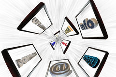High speed internet. Montors moving at high speed to the center of the image Stock Photography