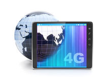 High speed internet 4g. Tablet PC and the model of the earth on a white background Stock Photo
