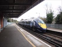 High speed javelin bullet train. Video footage of the high speed javelin train coming in to whitstable station in kent on 13 november 2015 stock video footage
