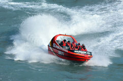 High speed jet boat ride - Queenstown NZ Stock Image