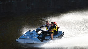 High-speed jet ski Stock Images