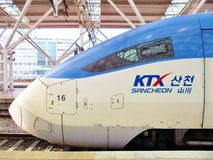 A high speed KTX bullet train at the Seoul Station in South Korea Royalty Free Stock Photos