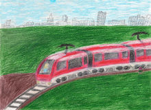 High speed modern commuter train transportation drawn by kid. Illustration Stock Image