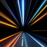 High speed motion. Night road. High speed motion Royalty Free Stock Image