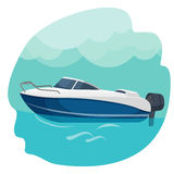 High speed motor boat sailing in sea vector illustration isolated Royalty Free Stock Photos