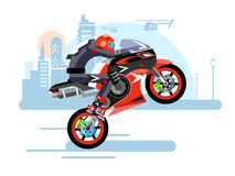 High-speed motorcycle rides on one wheel Royalty Free Stock Photos