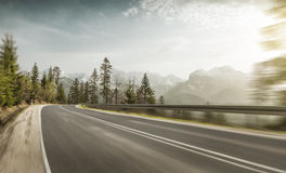 High speed on a mountain road Royalty Free Stock Image