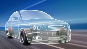 High speed of outline car on the road. 3D illustration of car like outline on road with high speed royalty free illustration