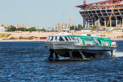 High speed passenger hydrofoil the Meteor 214  in Saint-Petersburg, Russia Stock Photography