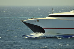 High speed passenger ship. Passing the sea royalty free stock photo